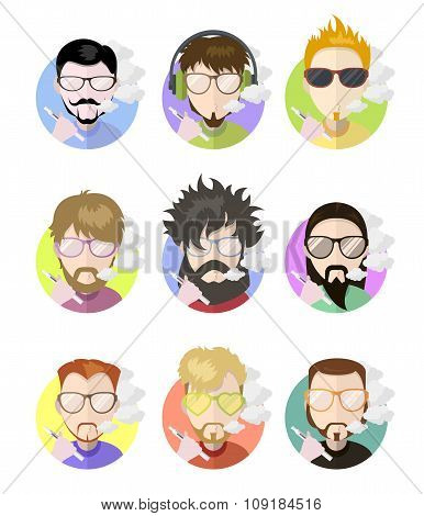Set Avatars Profile Flat Men Vaping E-cigarette, Different Characters