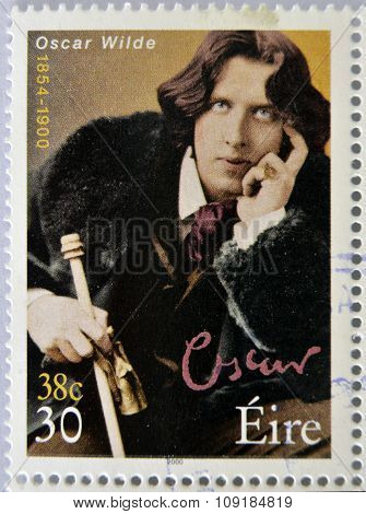 IRELAND - CIRCA 2000: a stamp printed in Ireland shows an image of Oscar Wilde circa 2000.