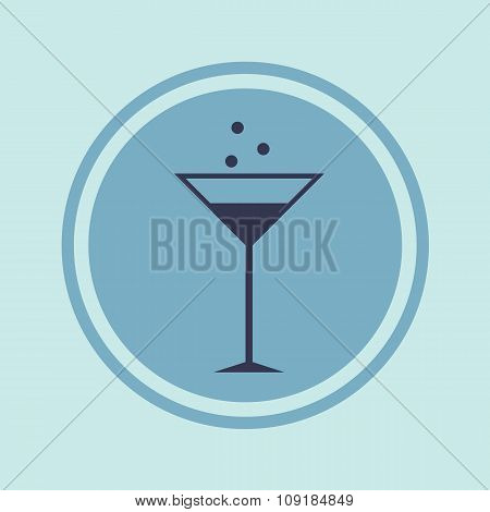 Vector Icon Flat Glass Cocktail, Alcoholic Beverage In A Circle