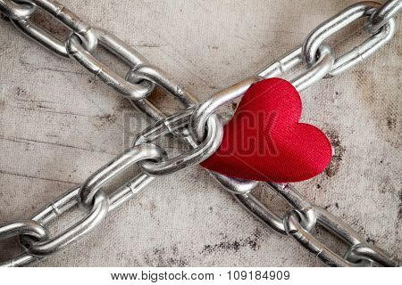 Crossed Chains With Red Heart