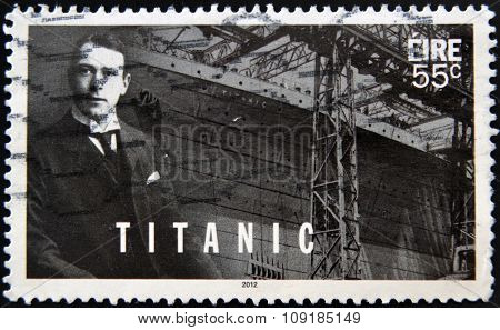 IRELAND - CIRCA 2012: a stamp printed in Ireland shows an image of Titanic circa 2012.