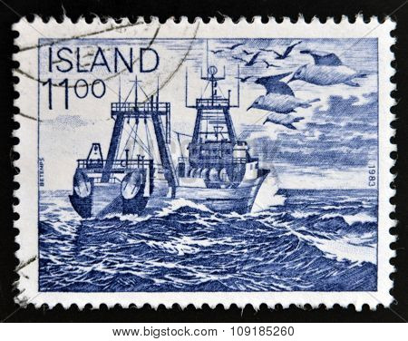 ICELAND - CIRCA 1983: A stamp printed in Iceland dedicated to the fishing industry circa 1983