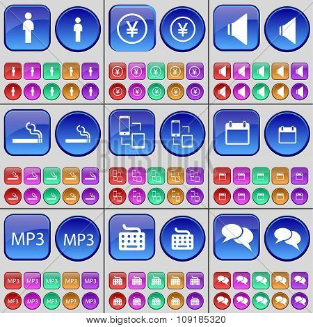 Silhouette, Yen, Sound, Cigarette, Connection, Calendar, Mp3, Keyboard, Chat. A Large Set Of Multi-