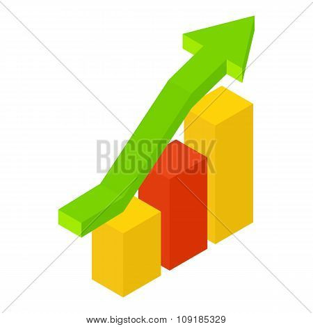 New growth chart isometric icon