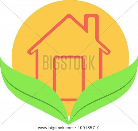 Vector Illustration, Slim Design Icon Home, House Construction, Eco, Cottage, Family