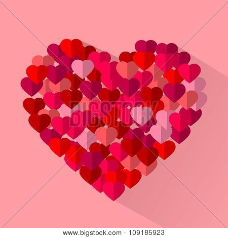 Red, Pink Flat Vector Love Hearts, Valentine Holiday Cards Background