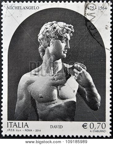 ITALY - CIRCA 2014: A stamp printed in Italy shows a statue of Michelangelo David circa 2014