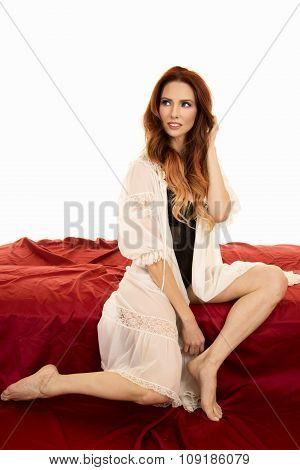 Red Head Woman In White Night Gown Over Black Look Up