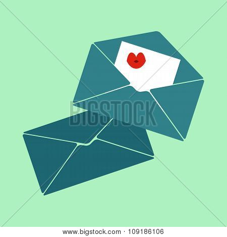 Vector Illustration, Flat Design, Email Icon, Love Letters, Envelope, Mail, Sending Mail