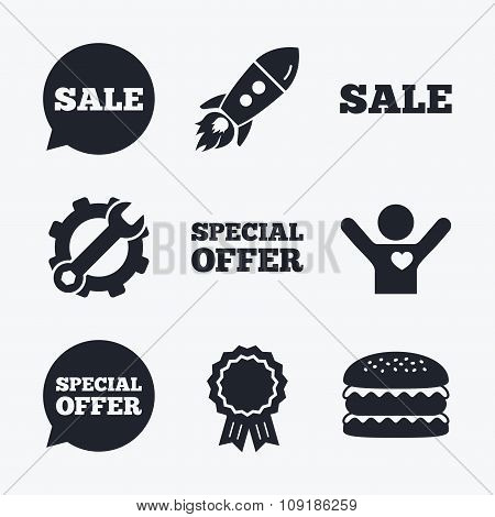 Sale icons. Special offer speech bubbles symbols
