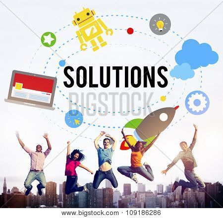 Solution Innovation Solving Progress Strategy Plan Concept