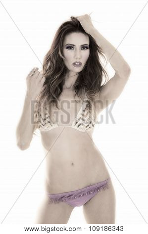 Red Head Woman Purple Bikini Stand Hand In Hair