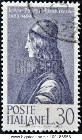 ITALY - CIRCA 1963: stamp printed in Italy shows Count Giovanni Pico della Mirandola circa 1963