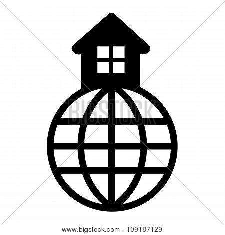 House in the world black icon