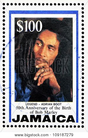 A stamp printed in Jamaica commemorating the 50th anniversary of the birth of Bob Marley