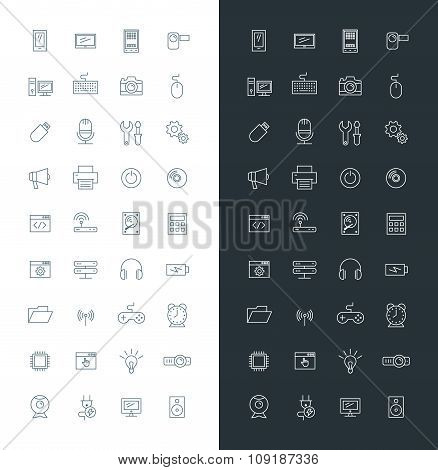 Computer And Technology Line Art Design Vector Icon Set. Mobile Phone, Printer, Computer, Keyboard,