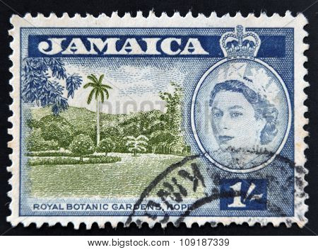 JAMAICA - CIRCA 1956: A stamp printed in Jamaica shows royal botanical gardenss Hope circa 1956