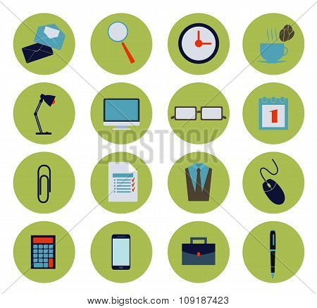 Modern Flat Office Icons Vector Collection, Business Elements, Office Equipment And Marketing Items.