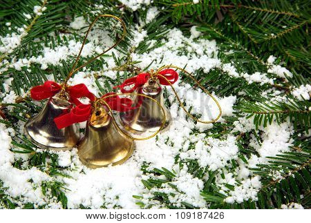 Christmas Decoration , Three Decorative Bells For Christmas Trees.horizontal.