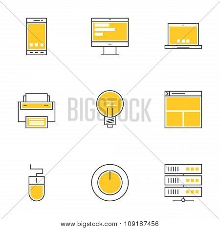 Set Of Thin Line Technology Devices Icons. Smartphone, Desktop, Printer, Server, Laptop, Mouse, Bulb