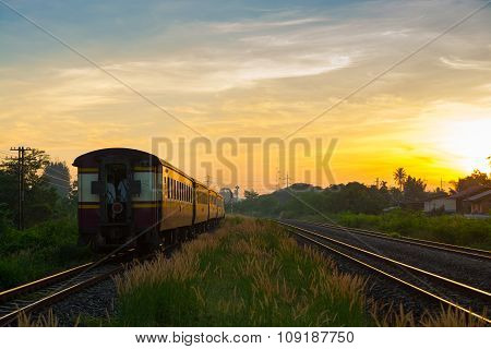 Train Running Over Rural Railway