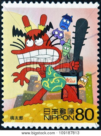 JAPAN - CIRCA 2005: A stamp printed in Japan shows Momotaro circa 2005