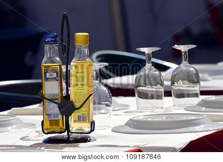 Condiments laid out on a table ready for tourists looking
