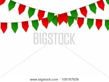 Colorful bunting flag isolated on white background.
