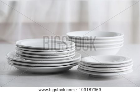 Set of plates on table
