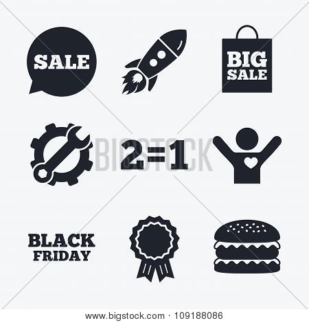 Sale speech bubble icons. Black friday symbol