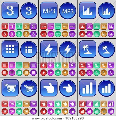 Three, Mp3, Diagram, Apps, Flash, Palm, Shopping Cart, Hand. A Large Set Of Multi-colored Buttons.