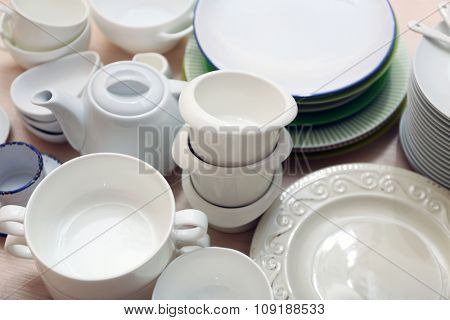 Set of tableware, close up
