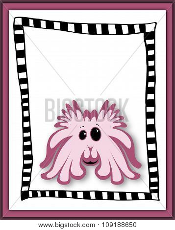 Beautiful Card With Pink Cartoon Monster