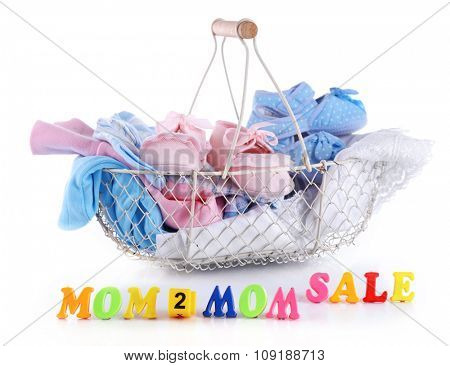 Concept of childish goods sale isolated on white background