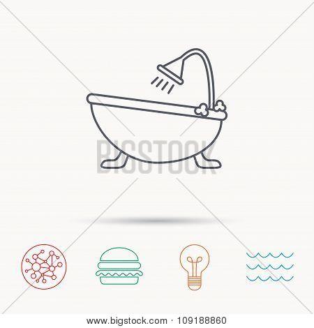 Bathroom icon. Bath with shower sign.
