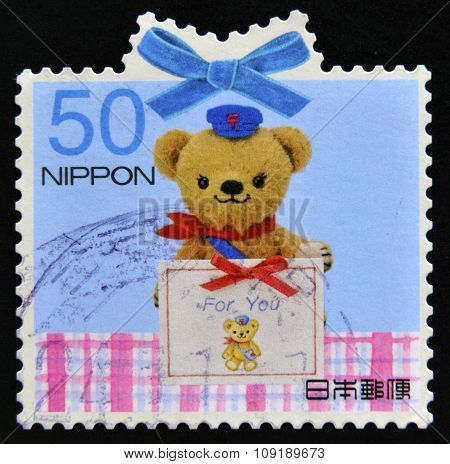 JAPAN - CIRCA 2013: stamp printed in Japan shows Teddy Bear circa 2013