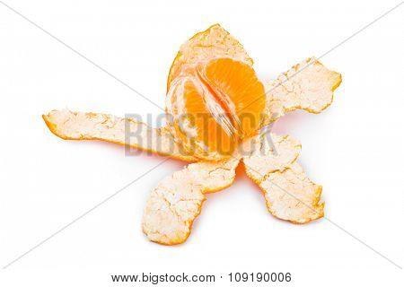 Ripe tangerine or mandarin fruit isolated on white background