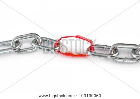 Chain with paper link isolated on white background