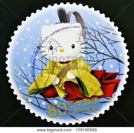 JAPAN - CIRCA 2000: A stamp printed in japan shows hello kitty circa 2000