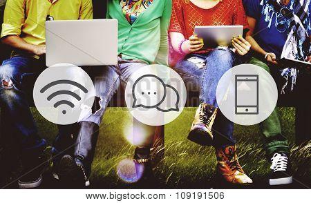 Wireless Technology Online Messaging Communication Concept