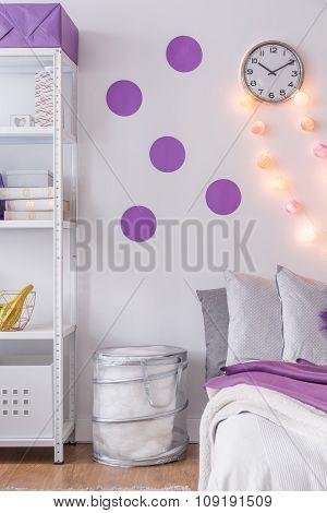 Purple Wall Decoration In Bedroom