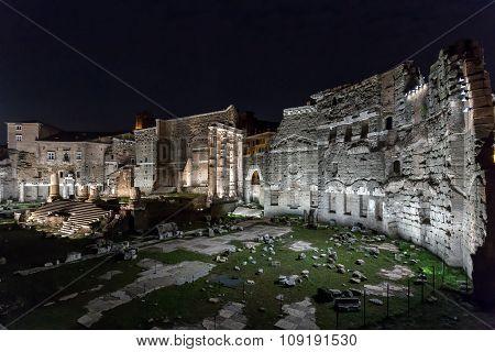 Roman Ruins Of Foro Di Augusto In Rome