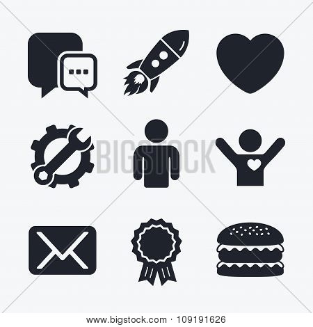 Social media icons. Chat speech bubble and Mail.