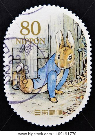 JAPAN - CIRCA 2011: a stamp printed in Japan shows Peter Rabbit Childrens book circa 2011