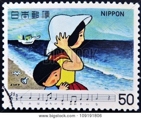 JAPAN - CIRCA 1980: A stamp printed in Japan shows dedicated to Japanese songs shows Sea circa 1980