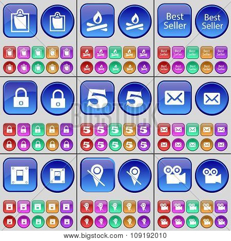 Survey, Campfire, Best Seller, Lock, Five, Message, Switch, Checkpoint, Film. A Large Set Of Multi-