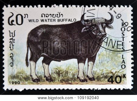 LAOS - CIRCA 1990: A stamp printed in Laos shows wild water buffalo circa 1990