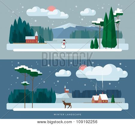 Winter landscape backgrounds set in flat style
