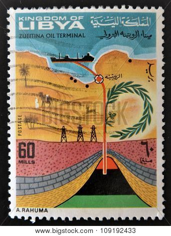 A stamp printed in Libya shows the inauguration of the Zueitina Oil Terminal