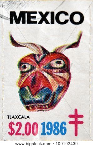 MEXICO - CIRCA 1986: A stamp printed in Mexico shows Mexican mask Tlaxcala circa 1986